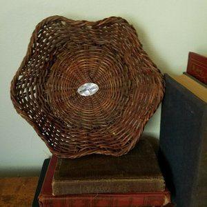 Vintage Dark Wicker Woven Basket Wall Table Top